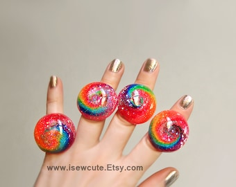 Rainbow Glitter Ring, Colorful Cyclone, adjustable large sparkly cocktail ring - intense color lovers jewelry, handcrafted resin by isewcute