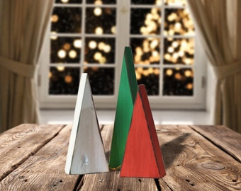 Red, White and Green Wood Christmas Trees