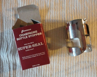 Vintage Franmara Champagne Bottle Stopper with New Super-Seal Made in Italy Unused