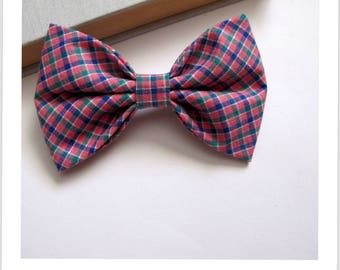Bow tie and clip hair 2 in 1 pink and green stripe