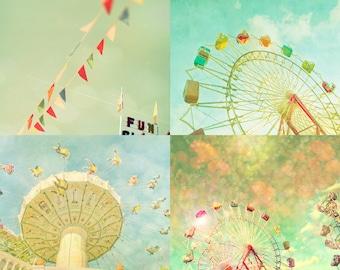 Carnival photos, home decor, nursery art, turquoise, ferris wheel, wall art, baby, circus - Set of 4 5x7 prints