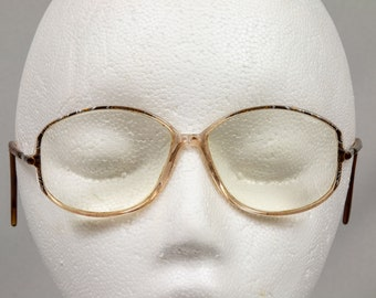 1980s glass frames Horn rimmed Eyeglasses or sunglasses  Excellent condition Large women's glasses Made in Austria for Silhouette
