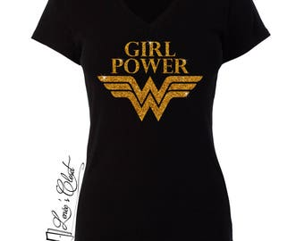 Wonder Woman Girl Power Glitter V-Neck Womens Black or White T-Shirt