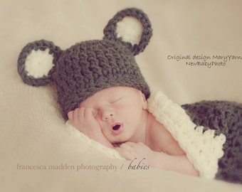 Hat and Cocoon Teddy Bear Newborn Photo prop in Brown Off white or ANY COLOR Photo Shoot Babies Infant Girl Boy