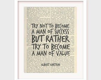 Printable Office Art, Inspirational Quote, Art Print, Man of success, a man of value, Albert Einstein Quote Print, Printable Office Art