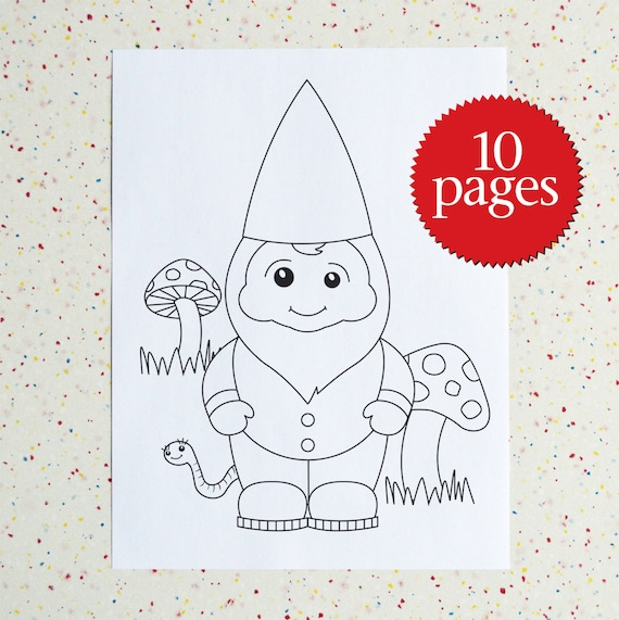Colouring Pages Gnome Town Garden Gnomes Instant