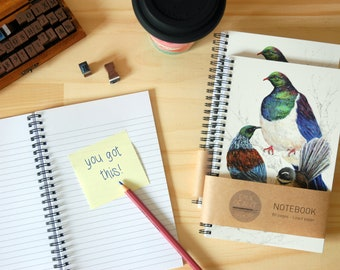 Spiral Notebook with New Zealand native birds painting cover