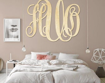 SALE SALE Item Wedding Large Wooden Monogram Wall Hanging Wall Monogram Home Decor Furniture Accessories Wall Accessories