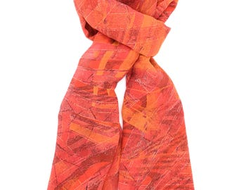 Orange Abstract Print Scarf ⊿ Wedding Scarf ⊿ Extra long scarf ⊿ Orange scarf ⊿ Christmas Gift ⊿ Wife Gift ⊿ Birthday Gift ⊿