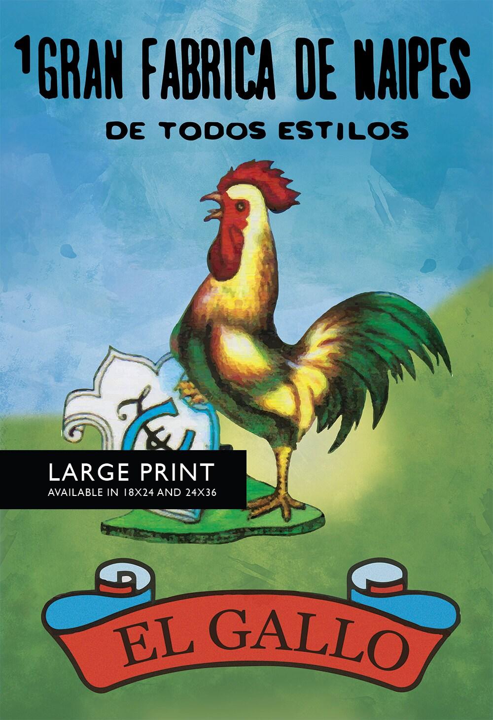 Loteria El Gallo Mexican Retro Illustration Art Print Vintage