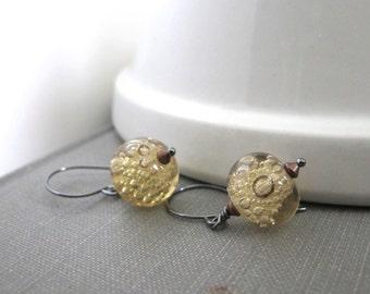 Silver Earrings, Amber Straw Glass, Glass Earrings, Beaded Earrings, Bubble Glass, Silver Jewelry, Glass Jewelry, Modern Jewelry