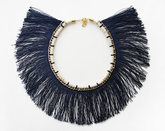 Navy Fringe Collar Necklace - Statement Necklace
