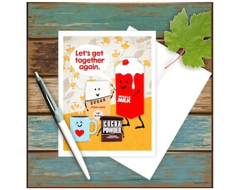 Thank You Card, Funny Greeting Card, Blank Note Card, Funny Note Card, Funny Notecard, Hot Cocoa, Hot Chocolate, Blank Greeting Card