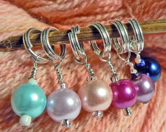 Colorful Glass Pearl Stitch Markes YOU CHOOSE a set of 6 Colorful Rainbow Beaded Stitch Markers
