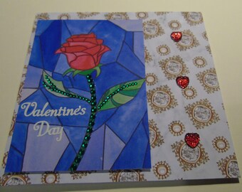 Handmade Beauty and the Beast Inspired Valentine Card - Rose