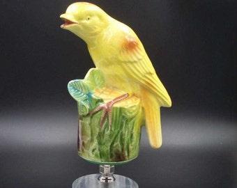 Custom OVERSIZED Lamp Final Featuring a Yellow Bird on a Wood Stump