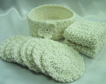 10 Piece Facial Set - 2 Facial Wash Cloths, 7 Scrubbies & Holder Cup - Hand Crocheted Cotton Yarn in Ivory - Pamper Yourself - Nice Gift Set