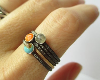 Birthstone Rings - Mother's Rings - Tiny Stacking Rings Set -1 Gold Skinny Stack - Miscarriage remembrance - Marriage