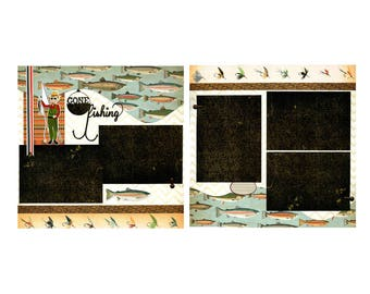 Pêche disparue - ensemble de pages de Scrapbook Premade 12 x 12