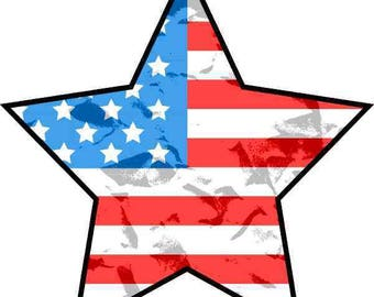 4inx4in Grunge American Flag Star Sticker Patriotic Car Decal Cup Stickers