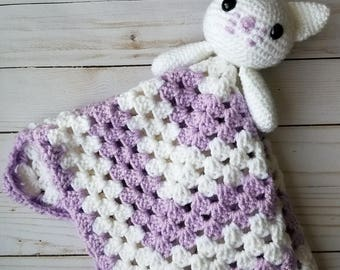 Kitty Cat Lovey Security Blanket   Baby Lovey   Baby and Toddler Toy   Baby Gift   Crochet Blanket