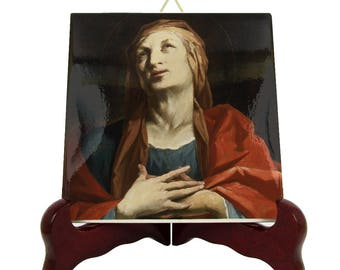 Saint Anne - icon on tile - St Anne - catholic saints serie - saint art - St Ann - handmade in Italy