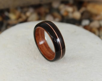 Bent Wood Ring -Ebony and Padauk with Copper Inlay, Handmade Wooden Ring In Any UK or US Size