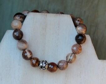 "ZenHappy ""Tree of Life"" Stretch Gemstone Mala Bracelet - Faceted Petrified Wood Jasper Gemstone Beads with Sterling Silver Focal"