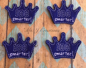 100 Smarter Felties - Blue 100 Days of School Hairbows Planners Scrapbook - READY TO SHIP