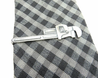 Pipe Wrench Tie Bar Plumbers Wrench Tie Clip Sterling Silver or Antiqued Brass Finish Wrench Tie Clip Gifts For Men