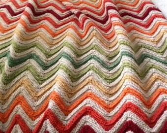 MADE TO ORDER - Crochet blanket, chevron blanket, chevron crochet, striped blanket, ripple blanket, zig zag blanket, afghan, throw blanket