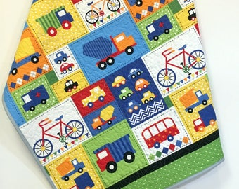 Trucks Baby Quilt-Boy- Handmade Crib Quilt-Nursery Bedding-Crib Bedding-primary colors-firetruck-cars-bikes