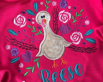 Hot Pink Ruffle gown, floral turkey applique with name