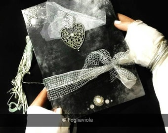 Customize your GRIMOIRE Moonlight spell journal Book of Shadows Diary White Heart book Witch Bos Mirror book spells OOAK handmade