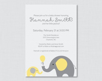 Elephant Baby Shower Invitation Printable or Printed Invite - Elephant Baby Shower Invites in Yellow and Gray and Chevron Baby - 0024-Y