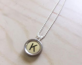 Letter K Sterling Silver Typewriter Necklace.  Typewriter Pendant.  Charm necklace.