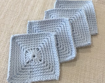 Crocheted Cotton Blue Square Coaster Set 4