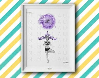 Yoga Crown Chakra, Sahasrara, Vriksasana Tree Pose/Digital Instant Download/Photo or Canvas Printable/Wall Decor Art