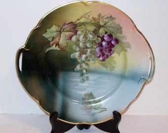 Antique J & C Louise Bavaria Porcelain Cabinet Plate - Grapes over Water - Artist Signed