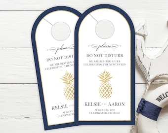 Wedding Door Hangers - Pineapple Wedding Hotel Door Hangers - Hotel Box Wedding Favor - Tropical Wedding - Do Not Disturb - #dhrI-288