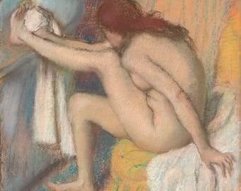 Fine Art Reproduction.  Woman Drying Her Foot, c.1886. Pastel Drawing by Edgar Degas, Fine Art Print.