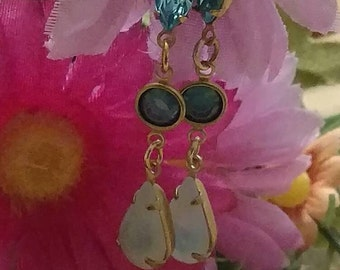 Romantic Earrings, Vintage Brass Connectors, Jewels, Turquoise and Amethyst, 2 Patterns