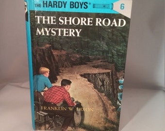 The Shore Road Mystery The Hardy Boys, Franklin W Dixon Hardy Boys book, hardback Hardy Boys mystery book, Vintage Hardy Boys, blue book