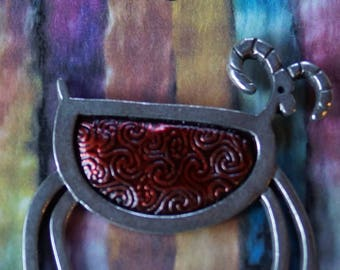Brooch: Petroglyphic Sheep with Red body pewter brooch