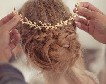 Wedding tiara Bridal headpiece gold leaf headpiece Wedding