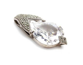 Large CZ Diamond Pendant in Sterling Silver with Marcasite