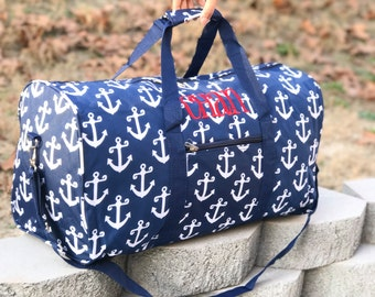 5 colors- Anchor DUFFLE Bag - Navy Overnight Bag - Personalized duffle bag - Girls Gym Bag - Weekender Bag - Monogrammed Duffle - Sports Bag