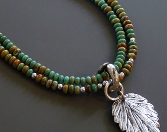 Turquoise necklace with handmade fine silver leaf