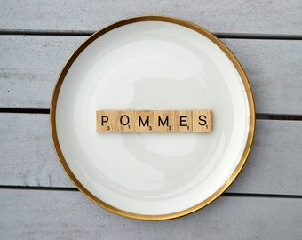 Wall plate pommes Vintage19cm cake plate of wood Deko plate wall hanging