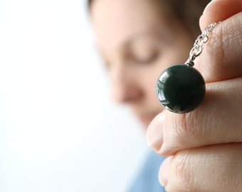 Real Bloodstone Necklace . Genuine Bloodstone Pendant Necklace Sterling Silver . Crystals for Stress Relief Jewelry NEW